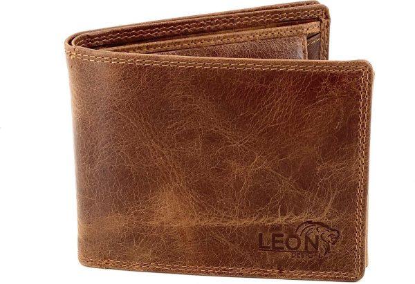 LeonDesign - 47-B2449-40 cognac bruin luxe compacte heren portemonnee leer