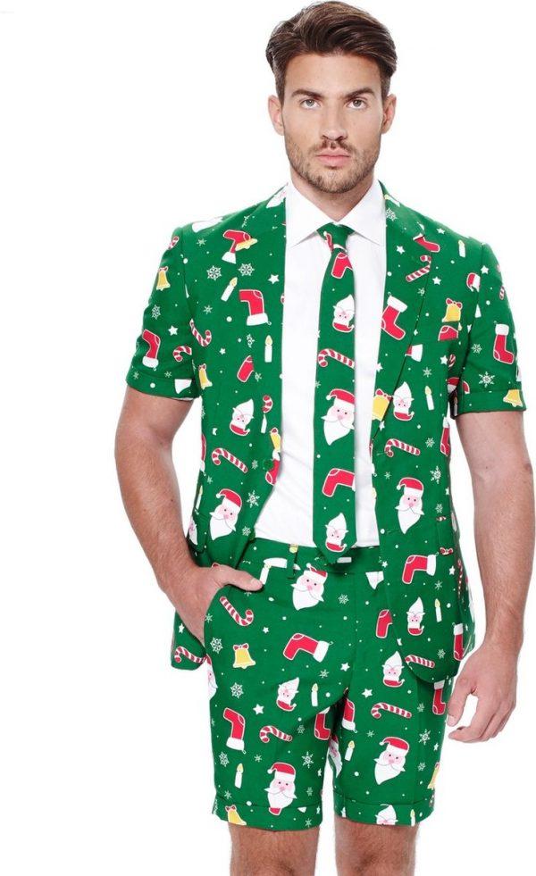 Opposuits Zomer-verkleedpak Santaboss Heren Polyester Groen Mt 50